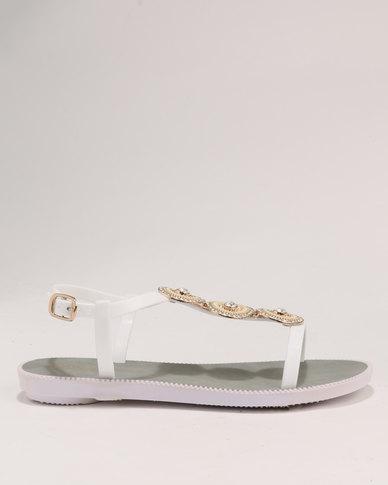 eba3b3c66 Bata Ladies Back Strap Flat Jewel Sandals White