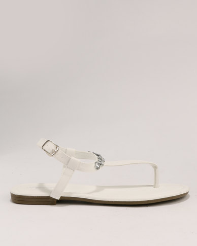 Bata Sandals Diamante Flat Ladies White LUzpqMjVSG
