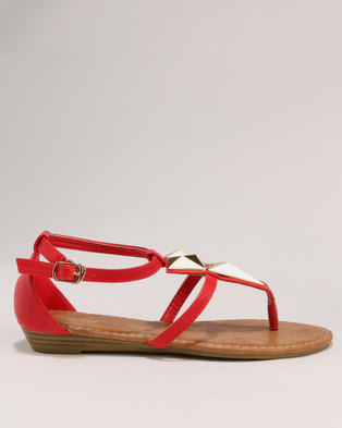 a7f12b92b9ed Bata Ladies Low Wedge Sandals Red