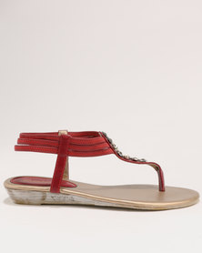 Bata Ladies Back Strap Flat Sandals Red