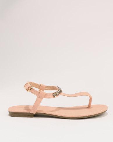 fc4ba7cc0 Bata Ladies Diamante Flat Sandals Pink