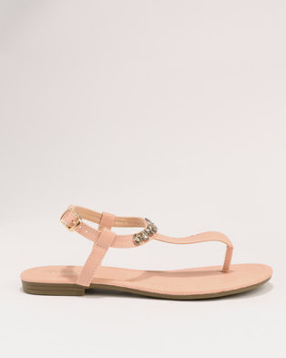 edccbc05bd4 Bata Ladies Diamante Flat Sandals Pink