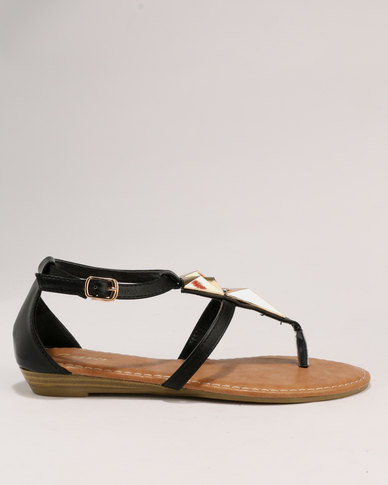 701c658808 Bata Ladies Low Wedge Sandals Black | Zando