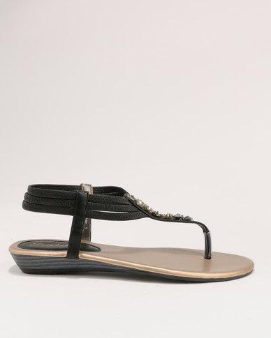 Back Black Bata Flat Strap Ladies Sandals TKJ3F1cl