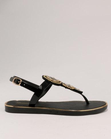 3252a0339b12 Bata Ladies Back Strap Flat Jewel Sandals Black