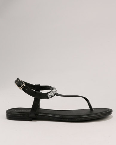 Bata Diamante Flat Sandals Ladies Black WD29IEH