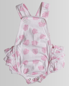 Kapas Baby Delicious Monster Ruffled Playsuit Pink