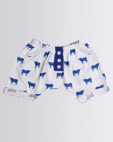 Kapas Baby Cow Shorts Blue