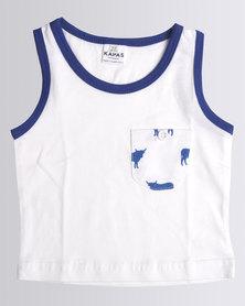 Kapas Baby Cow Vest Blue