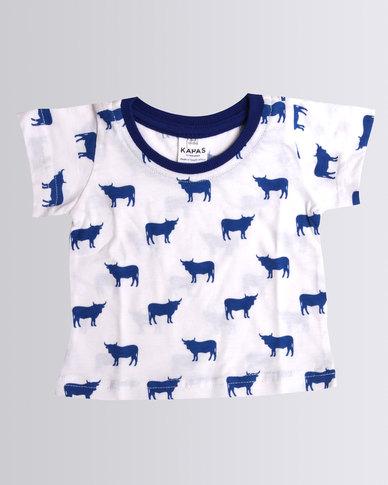 Kapas Baby Cow Tee Blue