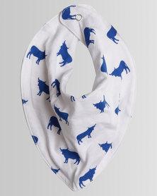 Kapas Baby Cow Dribble Bib Blue
