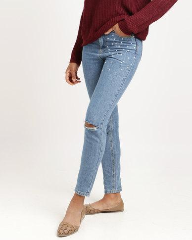 Brave Soul Mom Jeans With Pearls Light Denim