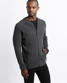 Smith & Jones Esion Zip Through Knitwear Charcoal