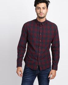 Crosshatch Obtusa Check Shirt Navy/Red