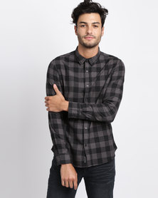 Crosshatch Obtusa Check Shirt Grey
