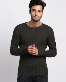 Crosshatch Harvie Crew Neck Ribbed Jumper Charcoal/Peat