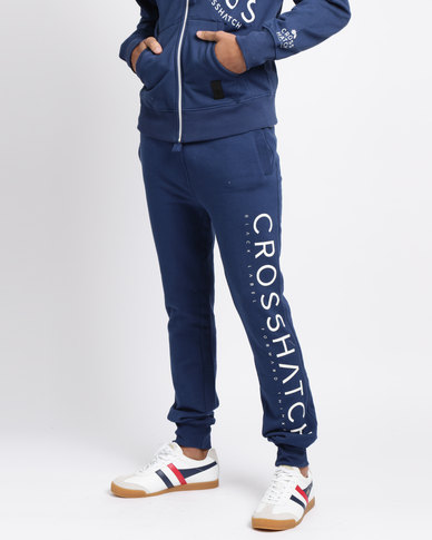 Crosshatch Shacka Leg Print Jogger Estate Blue