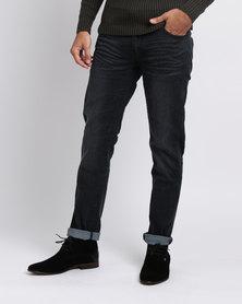 Crosshatch Farrow Stretch Straight Leg Jean With Belt Black