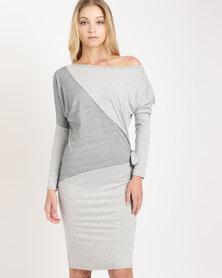 N'Joy Insert With Tie Side Dress Grey