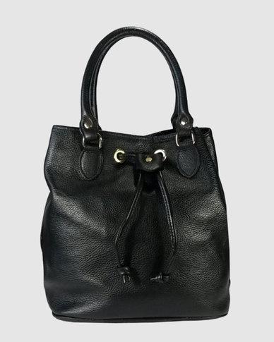 Icon Leather Suede Bucket Handbag Black