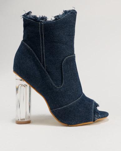 303d7e0d859 Legit Peep toe Denim Ankle Boot on Perspex Block Heel Indigo
