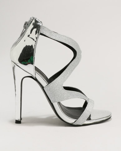 outlet pre order where can you find Legit Legit Glitter heel sandal Silver pay with visa online find great cheap price TYQYa3Fs