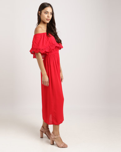 db2e3625572a Legit Off The Shoulder Anglaise Lace Frill Maxi Dress Red