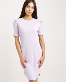 Legit Lace-Up Cold Shoulder Tube Dress Lilac