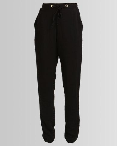 Legit Draped Tapered Jogger Pants Black