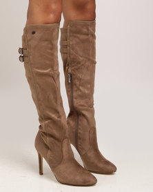 Miss Black Audra Long Heel Boot Taupe