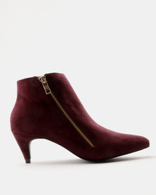 Miss Black Aiva Kitten Heel Ankle Boots Burgundy