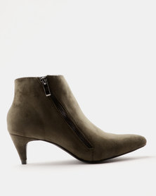 Miss Black Aiva Kitten Heel Ankle Boot Olive