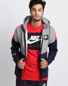 Nike Mens Nike Sportswear Air Full Zip Fleece Hoodie Grey
