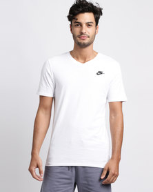 Nike Mens Nike Sportswear V-Neck Club Embroidered Futura Tee White