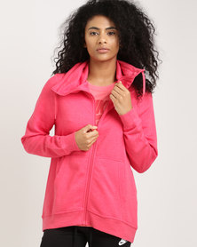 Nike Sportswear Women's Funnel Full-Zip Club Tropical Pink/Tropical Pink/White
