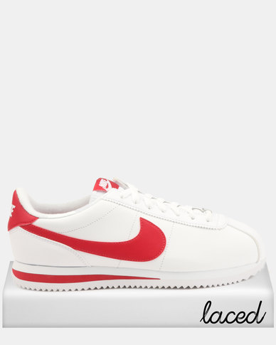 online retailer 0ef9e 3c63c Nike Cortez Basic Leather Sneakers WhiteGym Red  Zando