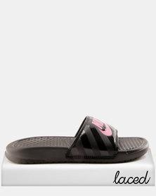 "Nike Benassi ""Just Do It"" Sandals Black/Vivid Pink"