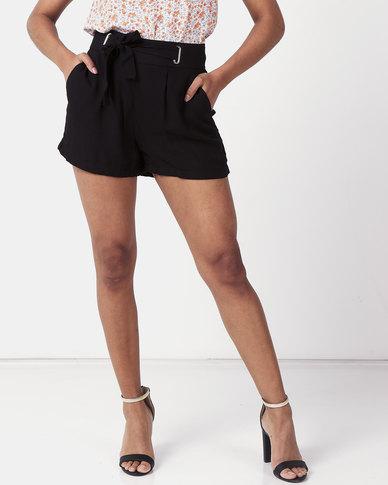 sale uk hot sales running shoes New Look Eyelet Tie Waist Shorts Black