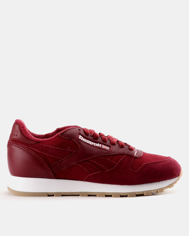 f8699966f35 Reebok Classic Leather Essential Urban Maroon and White