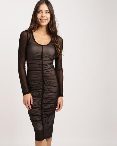8b69e77a034 Utopia Ruched Mesh Bodycon Dress Black | Zando