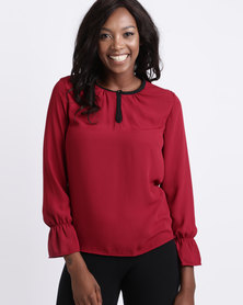 Utopia Georgette Blouse With Tipping Deep Red