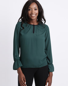 Utopia Georgette Blouse With Tipping Green