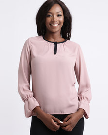 Utopia Georgette Blouse With Tipping Pink