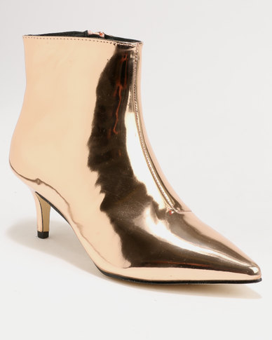 Footwork Whish Kitten Heel Ankle Boot Rose Gold  7b0152815