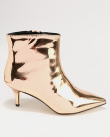 Footwork Whish Kitten Heel Ankle Boot Rose Gold