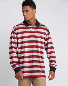 Crockett & Jones Long Sleeve Stripe Double Mercerised Golfer Stone/Red