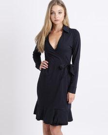 Lila Rose Knit Wrap Dress Navy