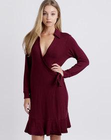 Lila Rose Knit Wrap Dress Red