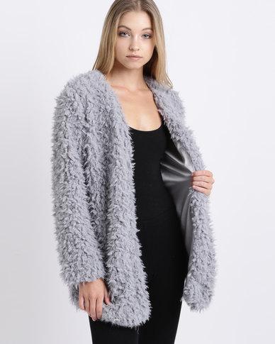 Lila Rose Long Shaggy Jacket Grey
