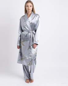 Lila Rose Long Printed Faux Silk Robe Silver Floral Print